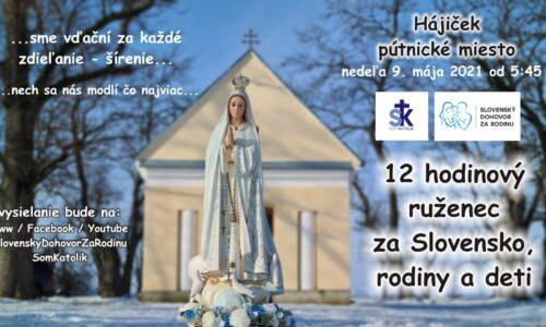12 hodinový ruženec za Slovensko, rodiny a deti – spojený s pôstom